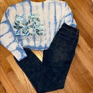 Justice 10-12 midrise  jegging & crop sweatshirt